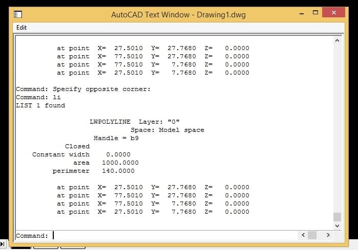 Lệnh tính diện tích trong Autocad bằng lệnh LI