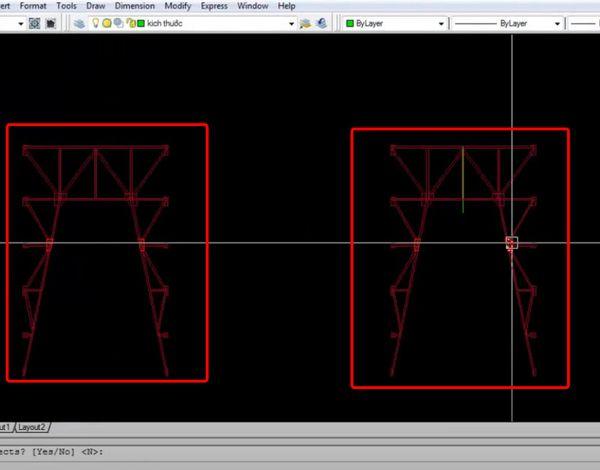 Click qua2 điểm mà các đối tượng cần đối xứng qua => Rồi nhấnEnter.